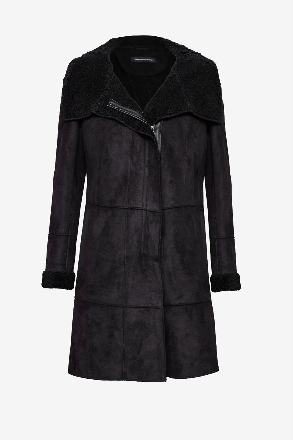 Front Draped Faux Shearling Coat