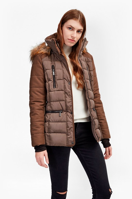 Faux Wool Anorak Belted Down Coat