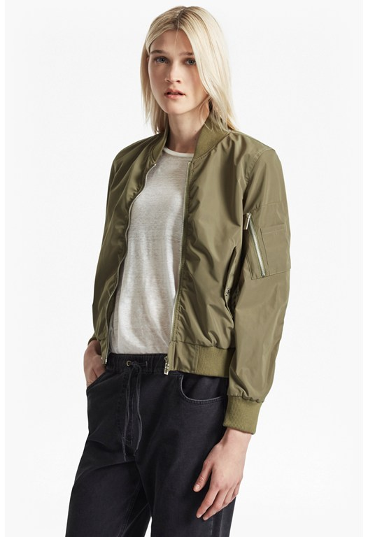 RUCHED SLEEVE BOMBER JACKET