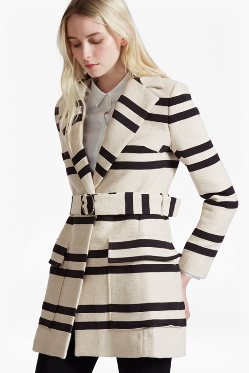 Complete the Look Escher Stripes Belted Mac