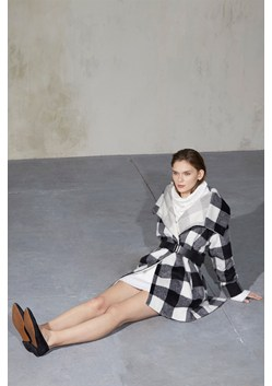 Jackie Checked Wide Collar Coat