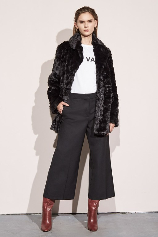 nariko faux fur double breasted coat