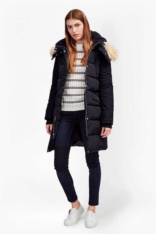 Complete the Look Faux Wool Down With Hood Coat