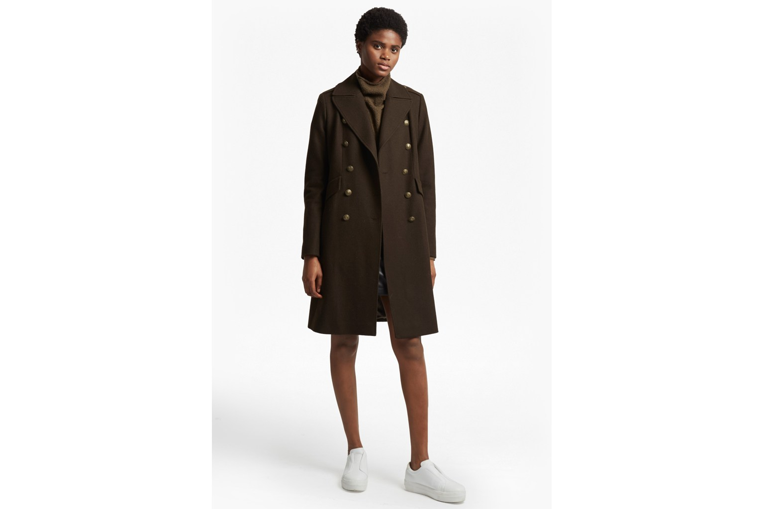 Back Detail Military Long Coat