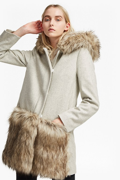 Complete the Look Platform Felt Fur Trim Coat