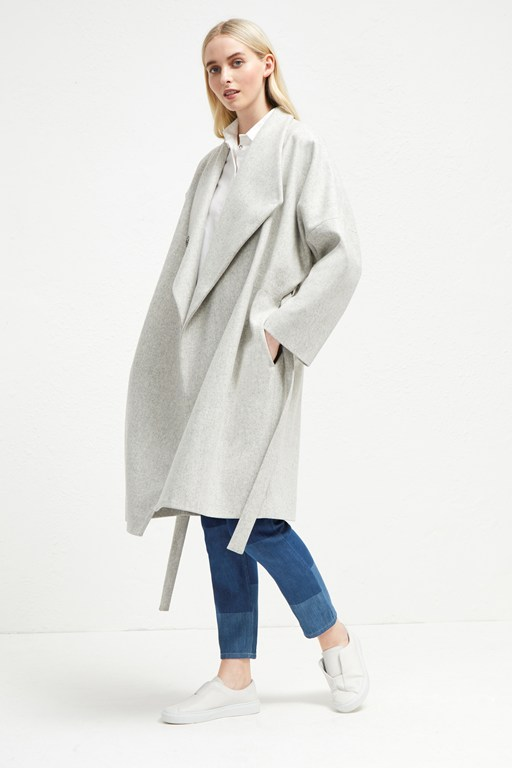 platform felt drop shoulder wrap coat