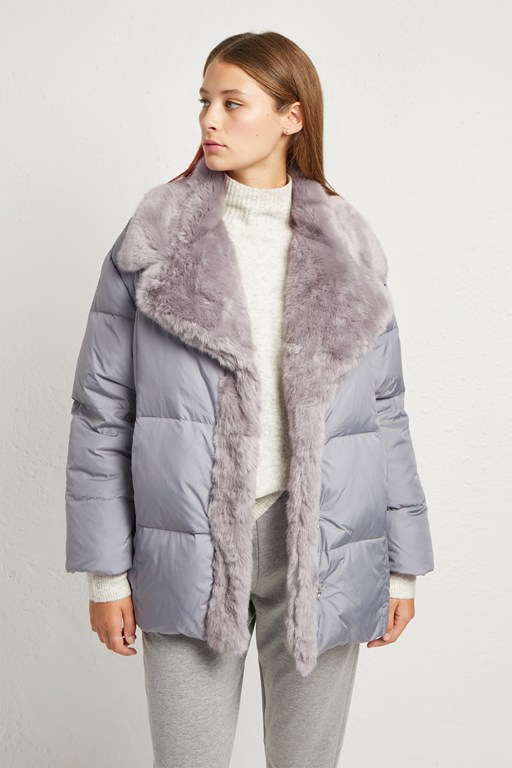 devon quilt fur trim wrap coat