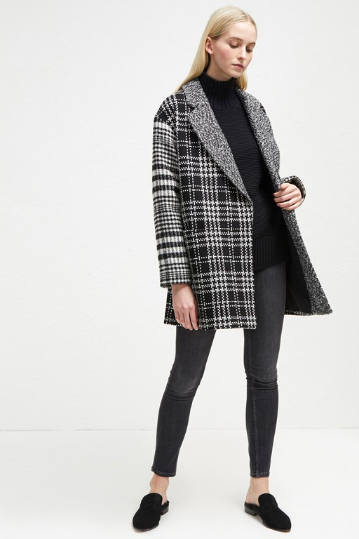 belinda check slouchy coat