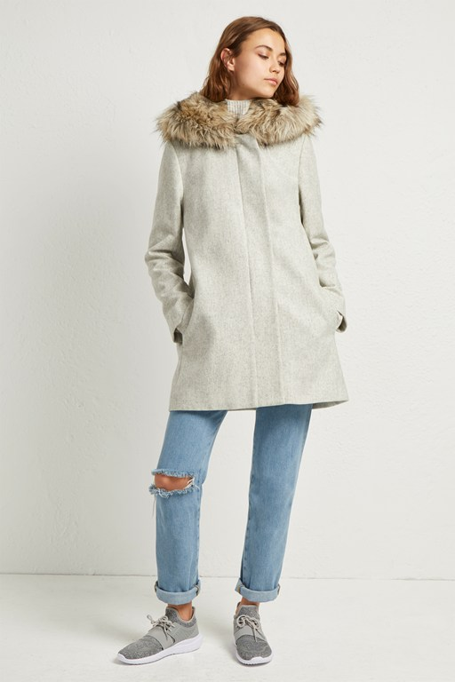 platform felt faux fur hooded coat