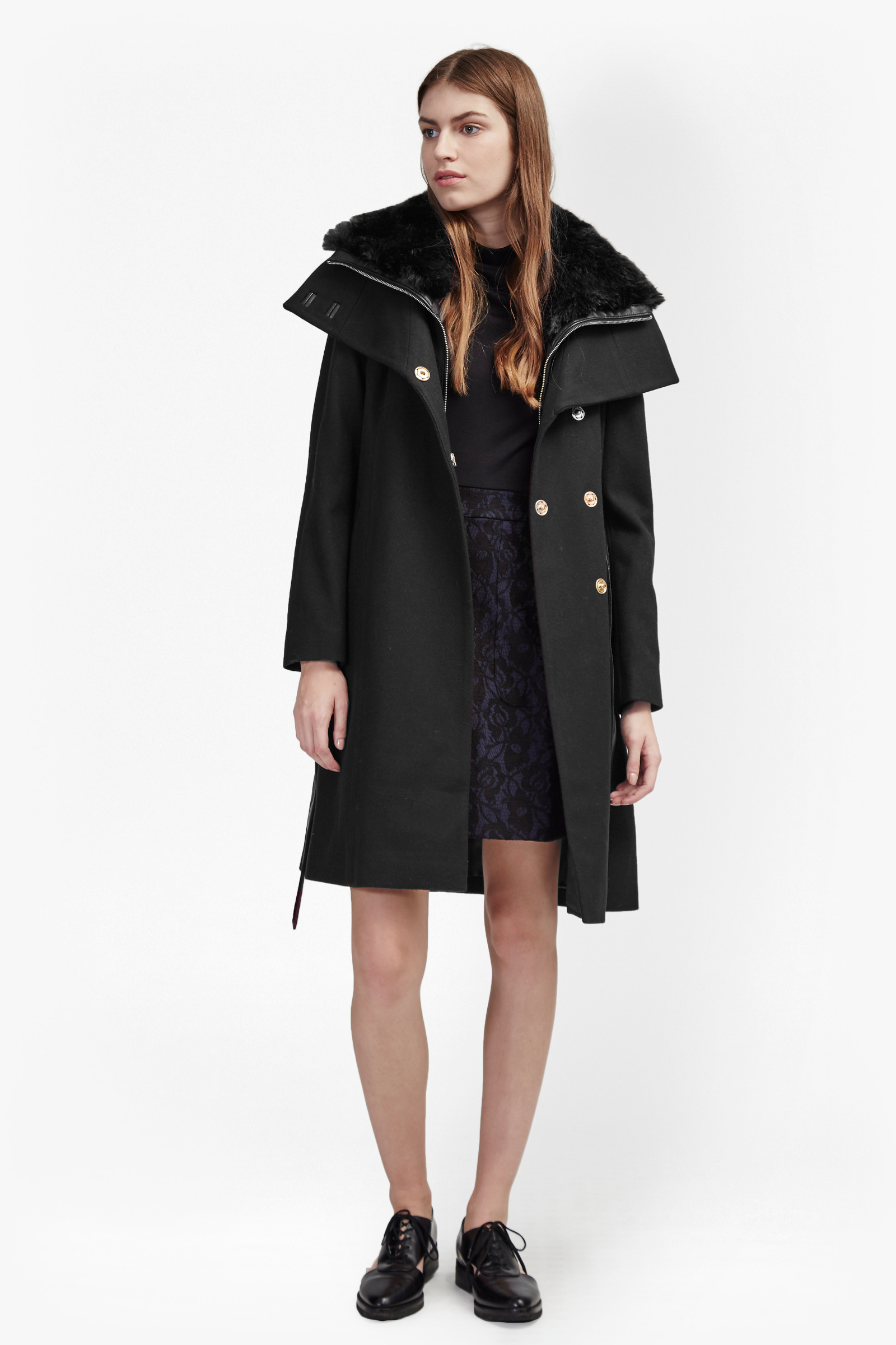 Zip Out Vest Faux Fur Collar Coat by French Connection