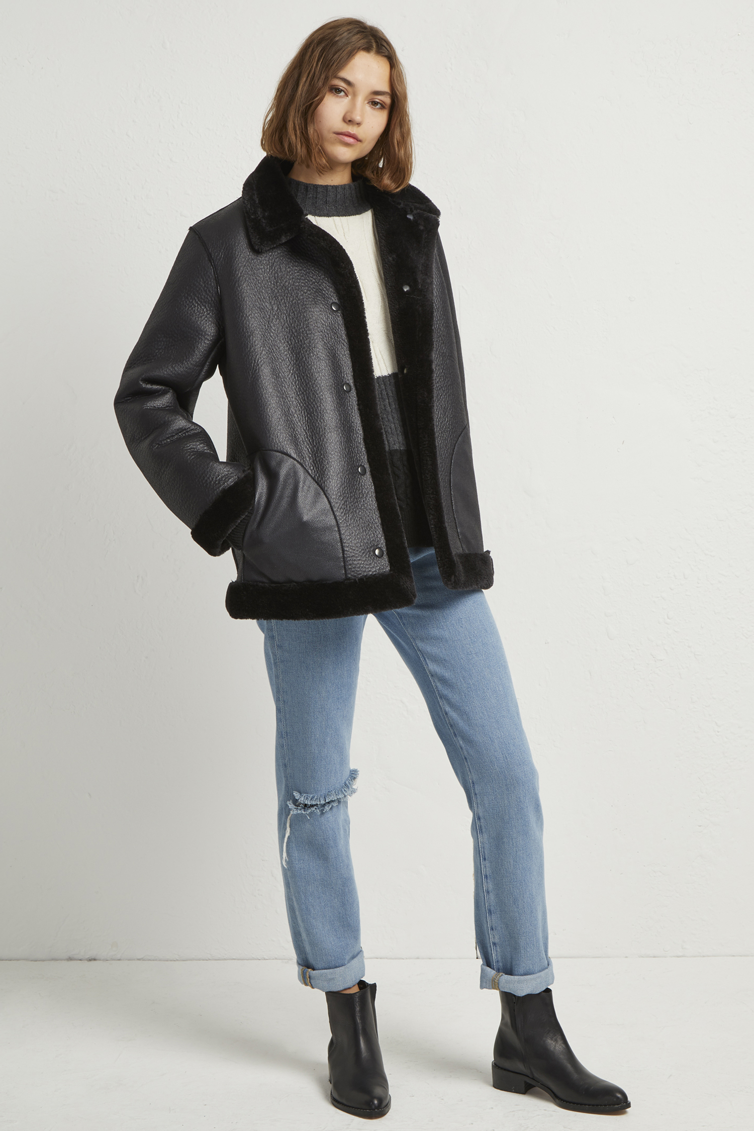 Louie Faux Shearling Reversible Coat by French Connection