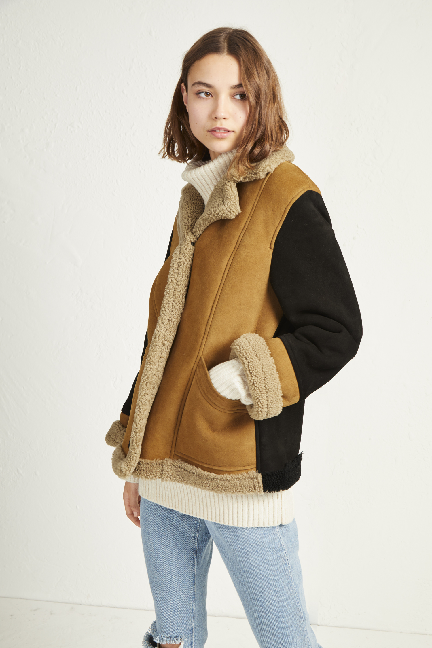 Louie Sheepskin Patchwork Jacket by French Connection