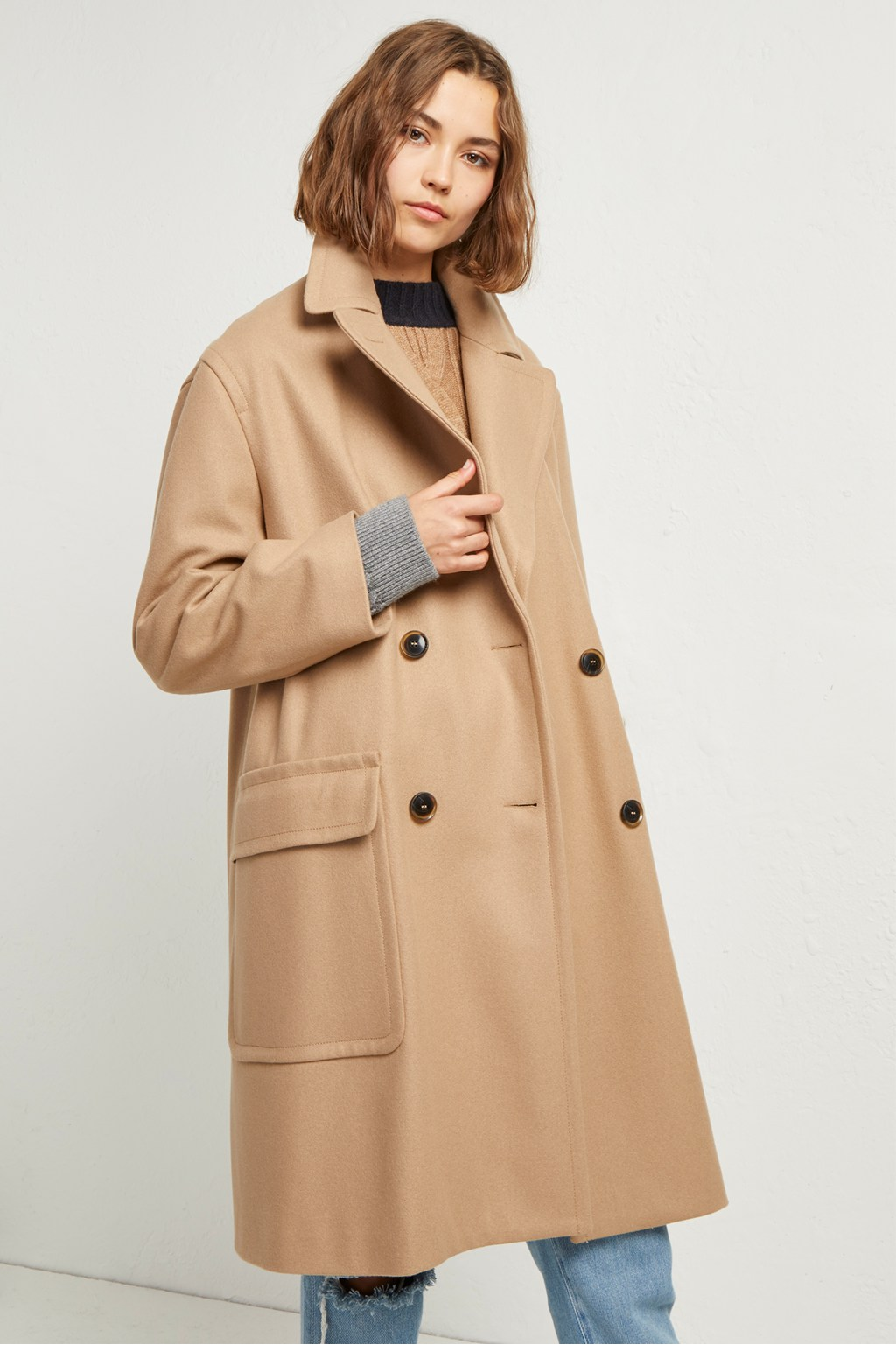 3448b628a5b Platform Felt Double Breasted Coat. loading images.