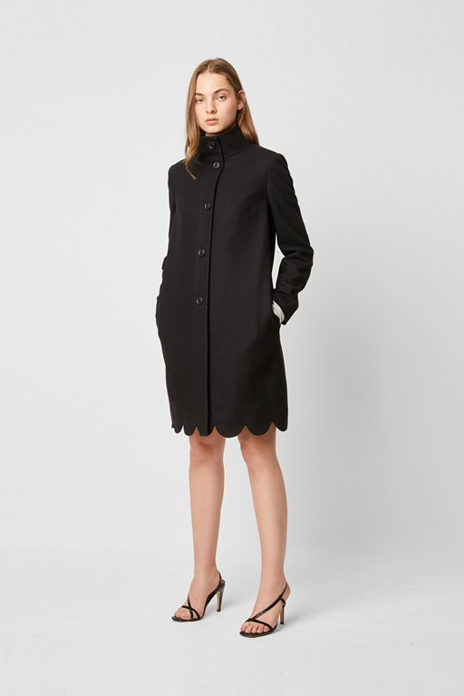 Complete the Look Carmelita Platform Felt Scallop Hem Coat