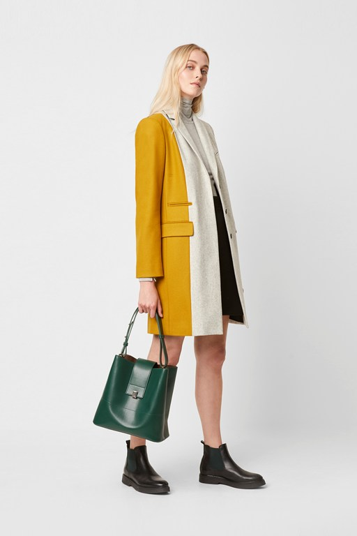 carmelita color block wool coat