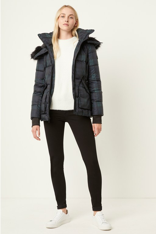 plaid puffer coat