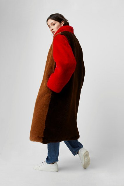 Claudie Oversized Color Block Coat