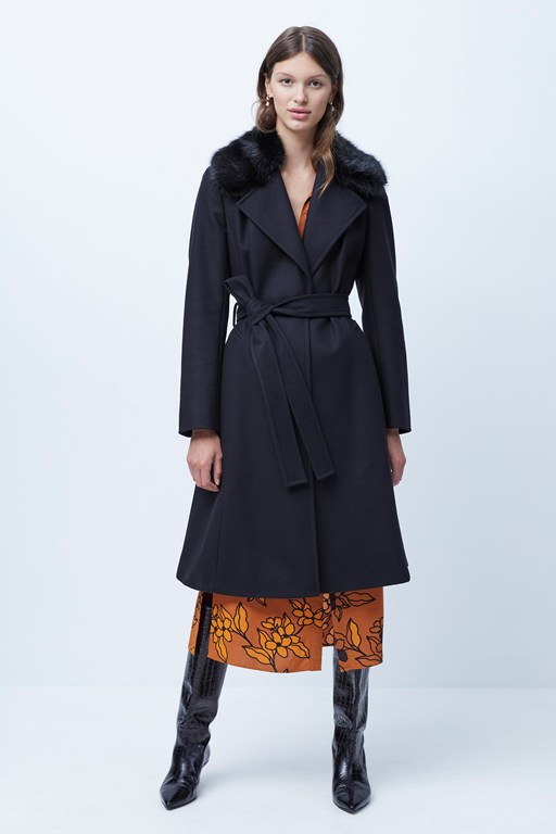 amalia faux fur detachable collar coat
