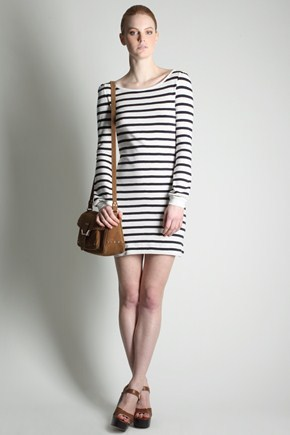SCOTT STRIPE SLASH NECK DRESS