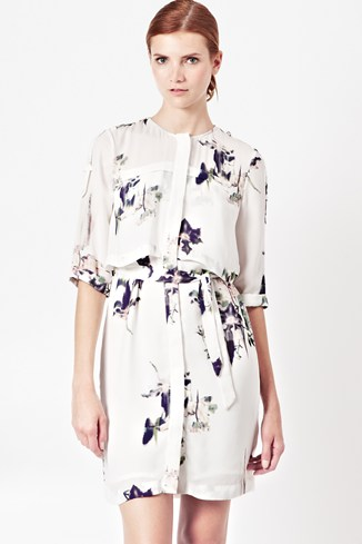 Water Flower Draped Dress