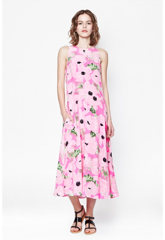 Holiday Poppy Silk Maxi Dress