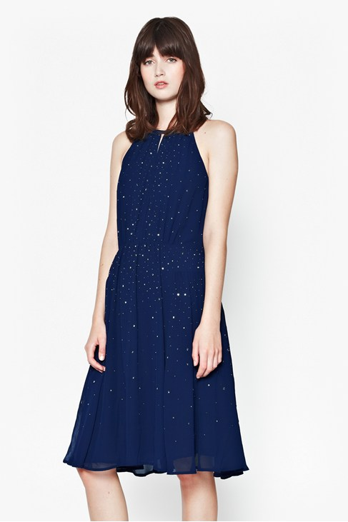 Glitter Spells Halter Neck Dress