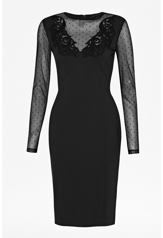 Marie Dot Mesh Embroidered Dress