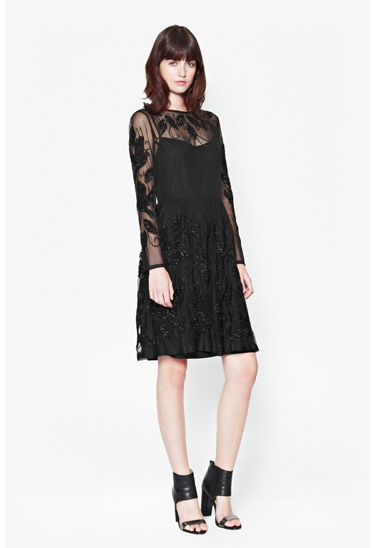 Socoro Sequins Semi-Sheer Dress
