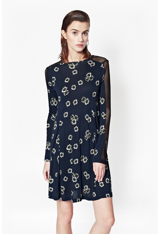 Eddy Floral Mesh Sleeve Dress