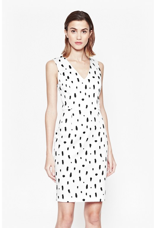 Polka Spray V-Neck Dress