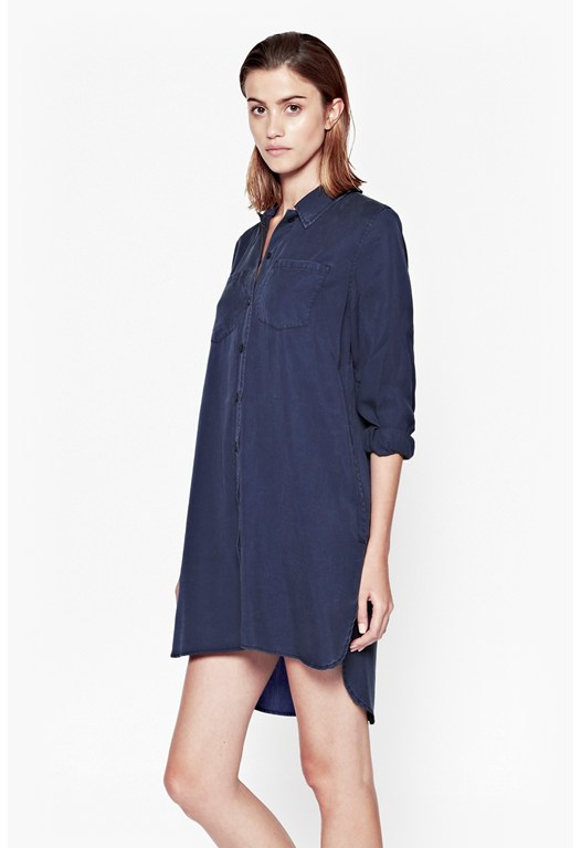 Cobalt Tencel Shirt Dress