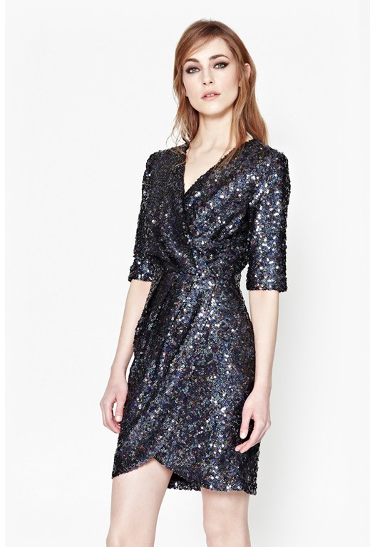 Lunar Sparkle Sequin Wrap Dress