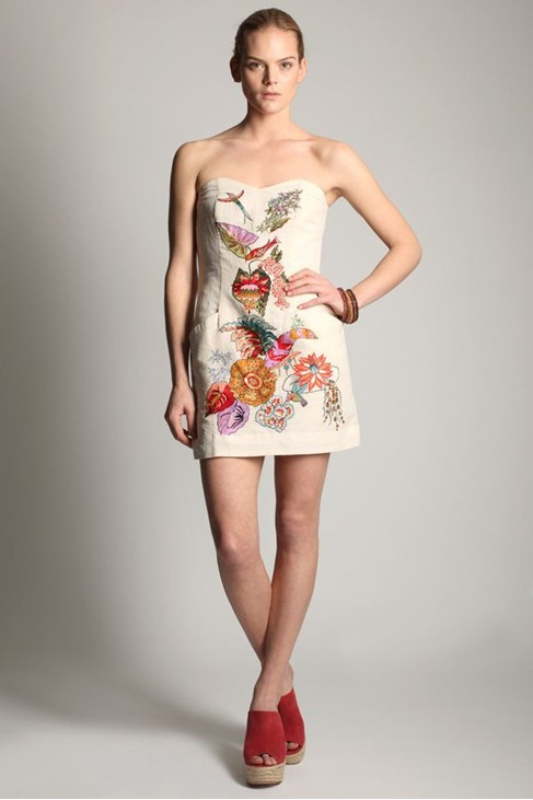 GARDEN BEADS STRAPLESS DRESS