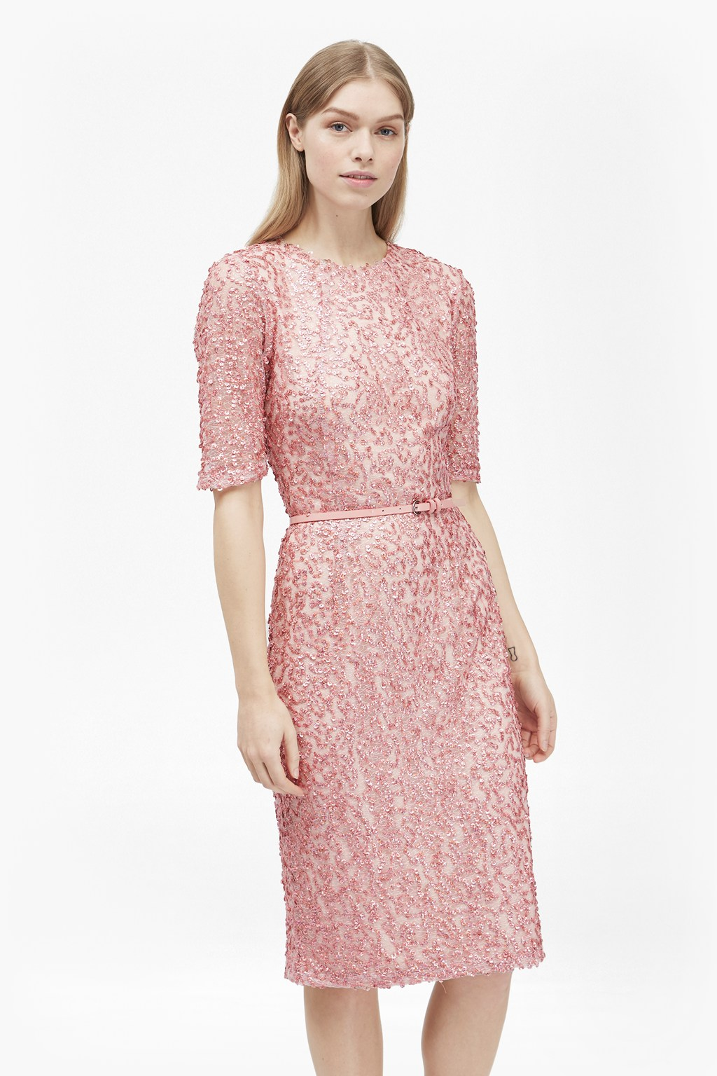 Celia Belted Sequin Dress