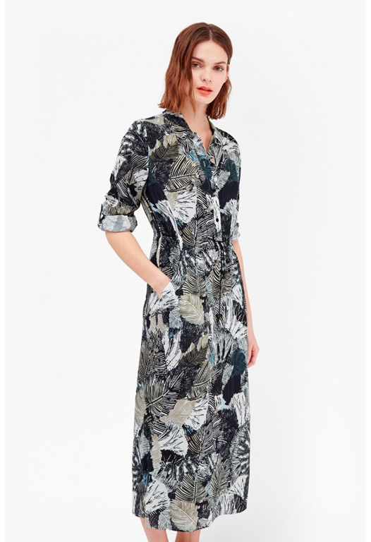Lala Palm Printed Shirt Dress