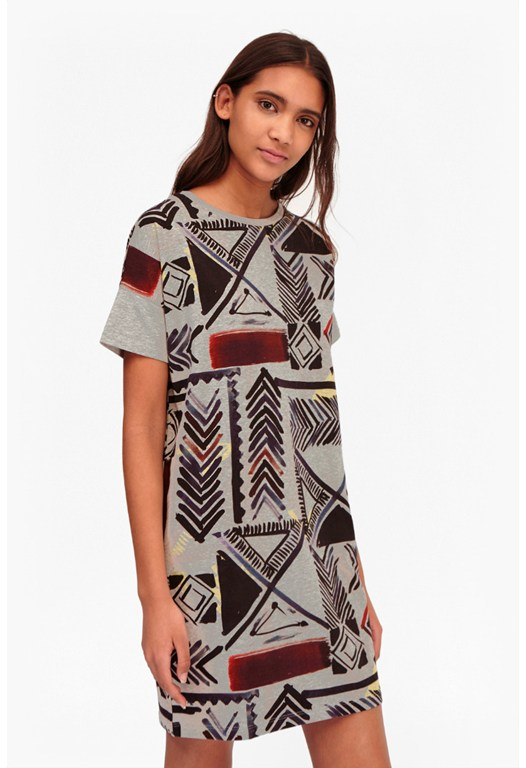 Empire Grid Melange Dress