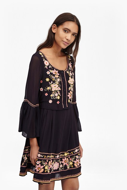Sunshine Bloom Embroidered Smock Dress