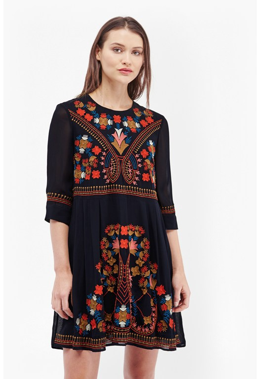 Colourful Kiko Embroidered Dress