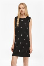 Looks Great With Midnight Satin Eyelet Tunic Dress
