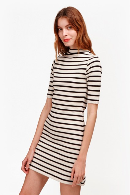 Terry Striped Mock Neck Dress