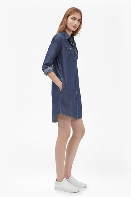 Denim Tencel Western Shirt Dress