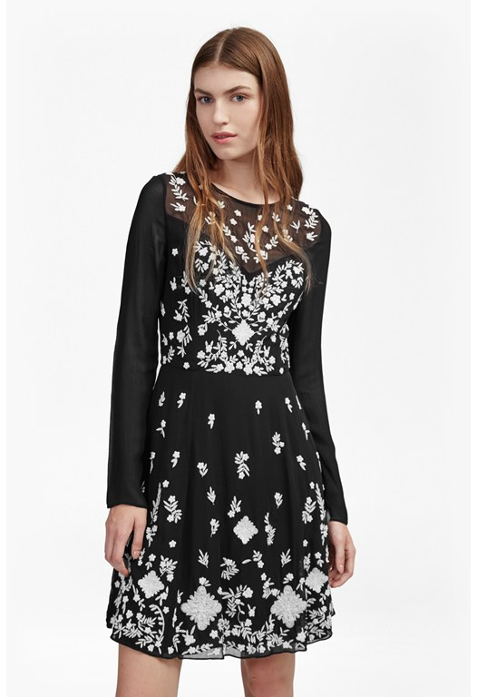 Midnight Garden Flared Dress