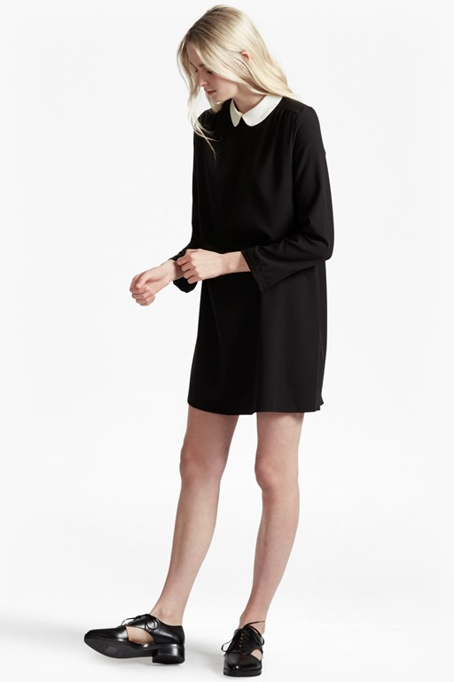 Contrast Collar Crepe Dress