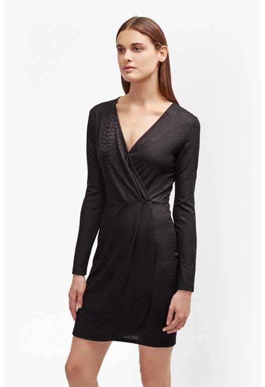 Snake Jacquard Wrap Dress