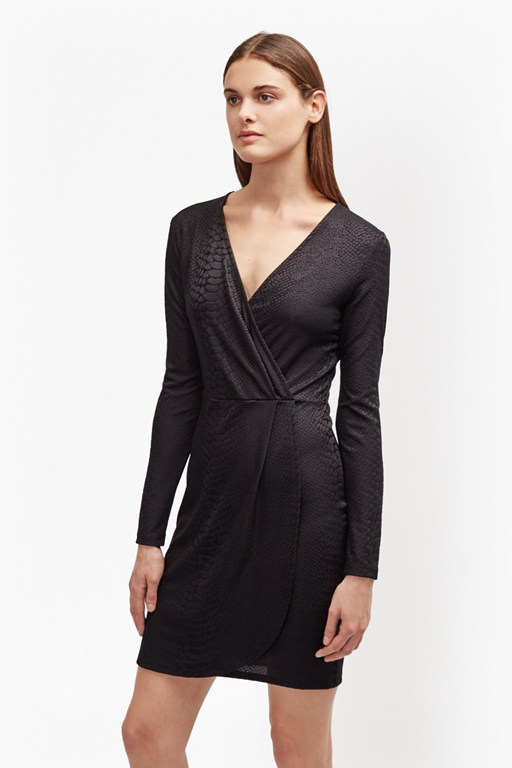 Complete the Look Snake Jacquard Wrap Dress