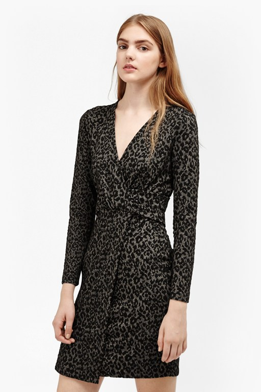 Complete the Look Cheetah Jacquard Wrap Front Dress