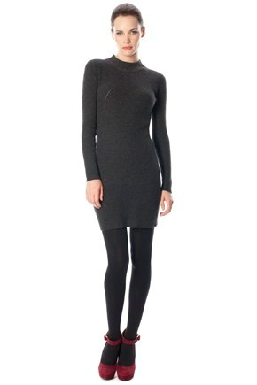RUBY RIBS L/S HIGH NK DRESS