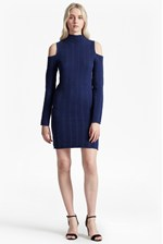 Looks Great With Mozart Ladder Knit Cold Shoulder Dress