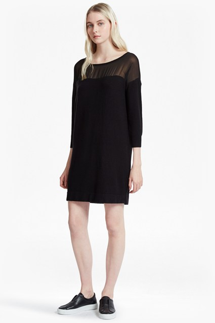 Vhari Hybrid Knit Chiffon Yoke Jumper Dress