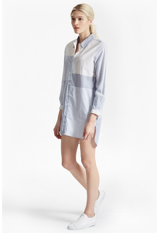 City Stripe Oversized Shirt Dress